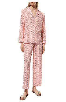 Женская хлопковая пижама YOLKE светло-розового цвета, арт. AW21-02C-FS-R0   Фото 2