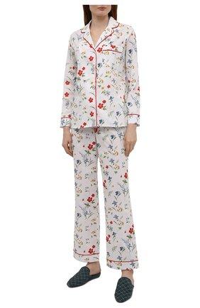 Женская хлопковая пижама YOLKE белого цвета, арт. AW21-02C-ME-FL   Фото 1
