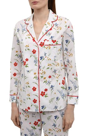 Женская хлопковая пижама YOLKE белого цвета, арт. AW21-02C-ME-FL   Фото 2