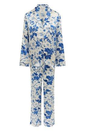 Женская шелковая пижама YOLKE светло-голубого цвета, арт. AW21-02S-WAL-BL   Фото 1