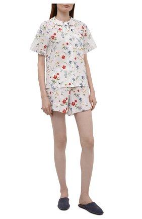 Женская хлопковая пижама YOLKE белого цвета, арт. AW21-40C-ME-FL   Фото 1
