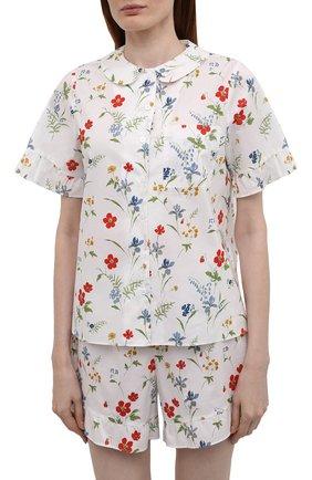 Женская хлопковая пижама YOLKE белого цвета, арт. AW21-40C-ME-FL   Фото 2