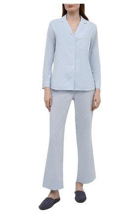 Женская хлопковая пижама YOLKE голубого цвета, арт. C0RE-02C-CJ-CB | Фото 1 (Рукава: Длинные; Длина Ж (юбки, платья, шорты): Мини; Длина (брюки, джинсы): Стандартные; Длина (для топов): Стандартные; Материал внешний: Хлопок)