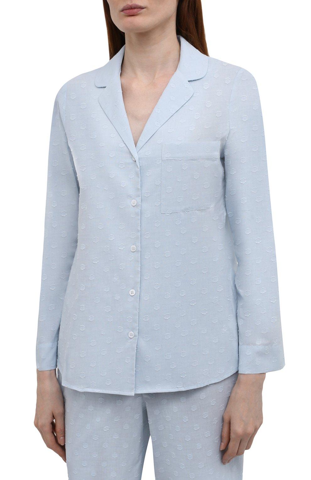 Женская хлопковая пижама YOLKE голубого цвета, арт. C0RE-02C-CJ-CB | Фото 2 (Рукава: Длинные; Длина Ж (юбки, платья, шорты): Мини; Длина (брюки, джинсы): Стандартные; Длина (для топов): Стандартные; Материал внешний: Хлопок)
