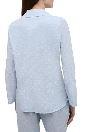 Женская хлопковая пижама YOLKE голубого цвета, арт. C0RE-02C-CJ-CB | Фото 3 (Рукава: Длинные; Длина Ж (юбки, платья, шорты): Мини; Длина (брюки, джинсы): Стандартные; Длина (для топов): Стандартные; Материал внешний: Хлопок)