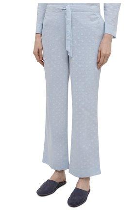 Женская хлопковая пижама YOLKE голубого цвета, арт. C0RE-02C-CJ-CB | Фото 4 (Рукава: Длинные; Длина Ж (юбки, платья, шорты): Мини; Длина (брюки, джинсы): Стандартные; Длина (для топов): Стандартные; Материал внешний: Хлопок)