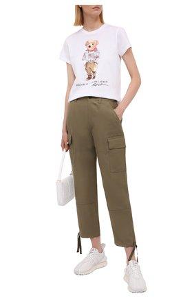Женские брюки из шелка и льна POLO RALPH LAUREN хаки цвета, арт. 211833039 | Фото 2 (Материал внешний: Шелк, Лен; Женское Кросс-КТ: Брюки-одежда; Стили: Милитари; Силуэт Ж (брюки и джинсы): Прямые; Длина (брюки, джинсы): Стандартные)