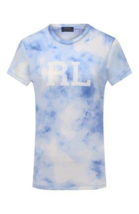 Женская хлопковая футболка POLO RALPH LAUREN светло-голубого цвета, арт. 211843236   Фото 1 (Длина (для топов): Стандартные; Рукава: Короткие; Материал внешний: Хлопок; Женское Кросс-КТ: Футболка-одежда; Принт: С принтом; Стили: Спорт-шик)