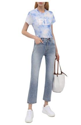Женская хлопковая футболка POLO RALPH LAUREN светло-голубого цвета, арт. 211843236   Фото 2 (Длина (для топов): Стандартные; Рукава: Короткие; Материал внешний: Хлопок; Женское Кросс-КТ: Футболка-одежда; Принт: С принтом; Стили: Спорт-шик)