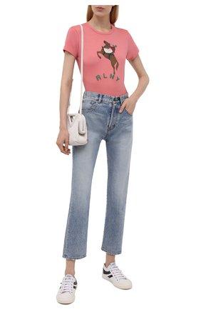 Женская хлопковая футболка POLO RALPH LAUREN розового цвета, арт. 211843238   Фото 2 (Материал внешний: Хлопок; Рукава: Короткие; Длина (для топов): Стандартные; Женское Кросс-КТ: Футболка-одежда; Принт: С принтом; Стили: Спорт-шик)