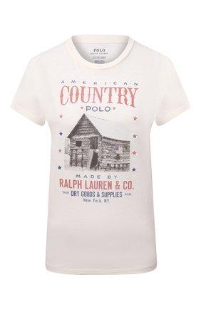 Женская хлопковая футболка POLO RALPH LAUREN кремвого цвета, арт. 211843239   Фото 1