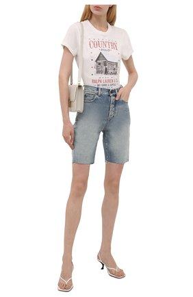 Женская хлопковая футболка POLO RALPH LAUREN кремвого цвета, арт. 211843239   Фото 2