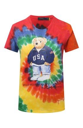 Женская хлопковая футболка POLO RALPH LAUREN разноцветного цвета, арт. 211843249 | Фото 1 (Материал внешний: Хлопок; Рукава: Короткие; Длина (для топов): Стандартные; Женское Кросс-КТ: Футболка-одежда; Принт: С принтом; Стили: Спорт-шик)