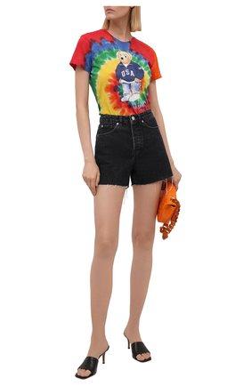Женская хлопковая футболка POLO RALPH LAUREN разноцветного цвета, арт. 211843249 | Фото 2 (Материал внешний: Хлопок; Рукава: Короткие; Длина (для топов): Стандартные; Женское Кросс-КТ: Футболка-одежда; Принт: С принтом; Стили: Спорт-шик)