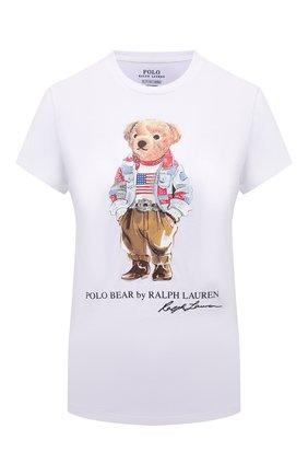 Женская хлопковая футболка POLO RALPH LAUREN белого цвета, арт. 211843279   Фото 1
