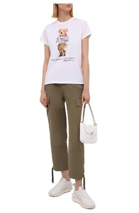 Женская хлопковая футболка POLO RALPH LAUREN белого цвета, арт. 211843279   Фото 2