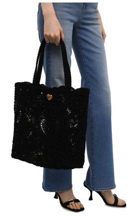 Женский сумка-шопер beatrice DOLCE & GABBANA черного цвета, арт. BB6927/AW717   Фото 2 (Размер: large; Материал: Текстиль; Сумки-технические: Сумки-шопперы)