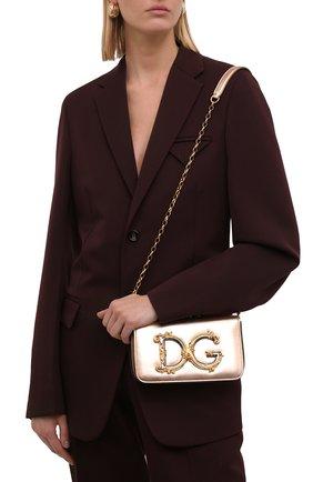 Женская сумка dg girls DOLCE & GABBANA золотого цвета, арт. BB6885/AW121   Фото 2 (Материал: Натуральная кожа; Сумки-технические: Сумки через плечо; Ремень/цепочка: На ремешке; Размер: mini; Женское Кросс-КТ: Вечерняя сумка)