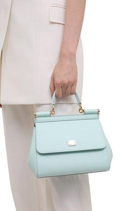Женская сумка sicily small DOLCE & GABBANA голубого цвета, арт. BB6003/A1001   Фото 2 (Материал: Натуральная кожа; Сумки-технические: Сумки top-handle, Сумки через плечо; Ремень/цепочка: На ремешке; Размер: small)