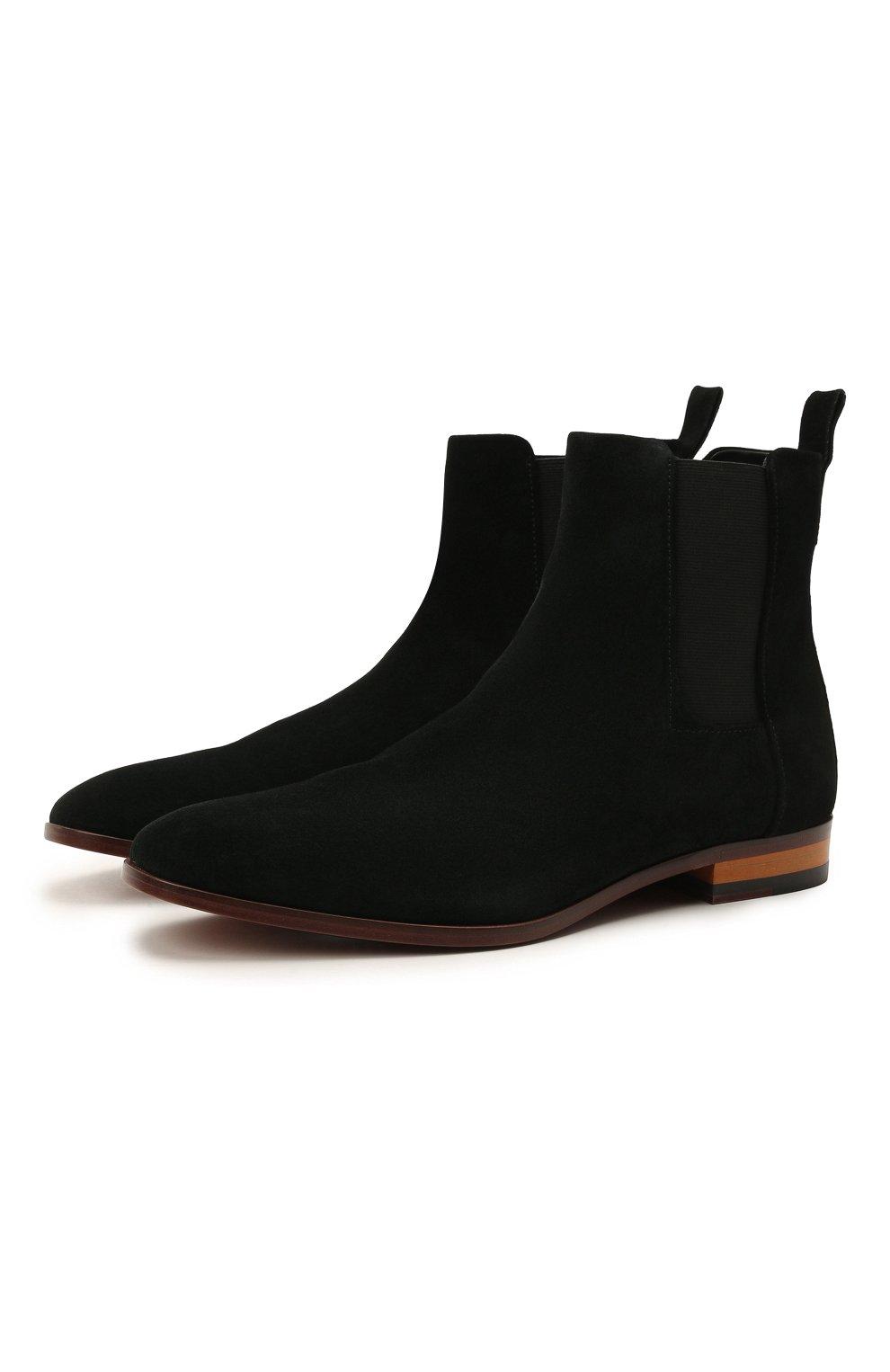 Мужские замшевые казаки HUGO черного цвета, арт. 50454862   Фото 1 (Мужское Кросс-КТ: Казаки-обувь, Сапоги-обувь; Подошва: Плоская; Материал внешний: Замша)
