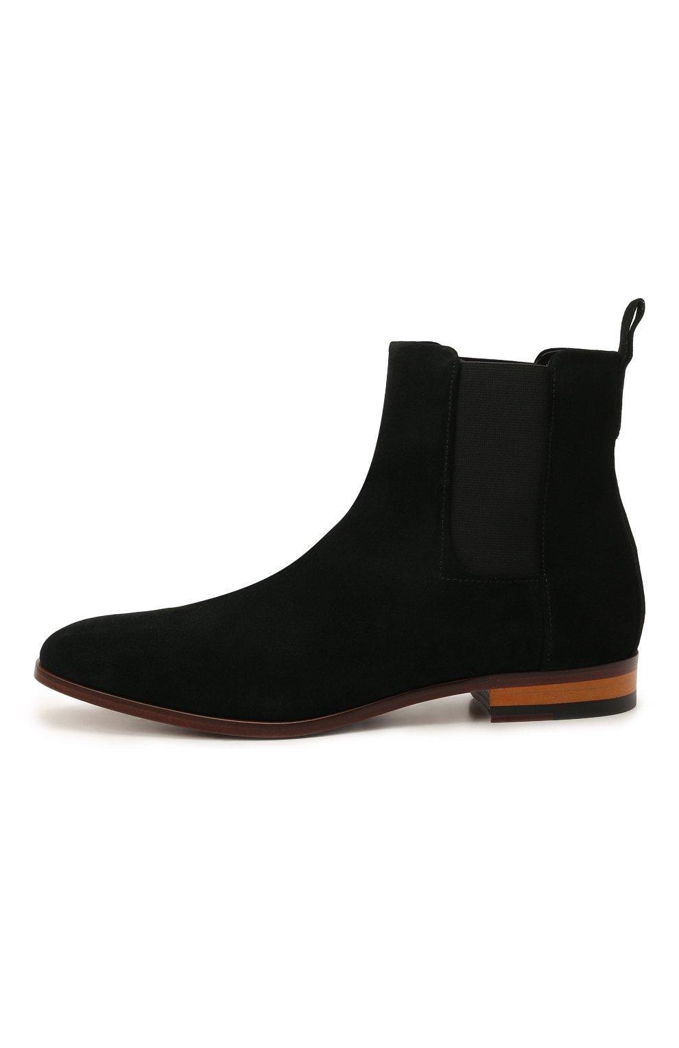 Мужские замшевые казаки HUGO черного цвета, арт. 50454862   Фото 3 (Мужское Кросс-КТ: Казаки-обувь, Сапоги-обувь; Подошва: Плоская; Материал внешний: Замша)