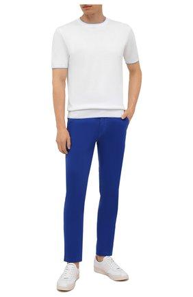 Мужские хлопковые брюки BOSS синего цвета, арт. 50442037 | Фото 2