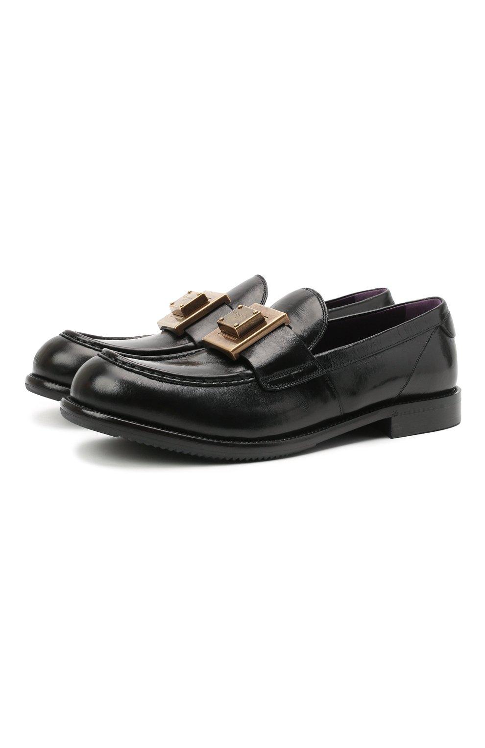 Мужские кожаные лоферы bernini DOLCE & GABBANA черного цвета, арт. A30141/A0821 | Фото 1 (Материал внутренний: Натуральная кожа; Стили: Кэжуэл)