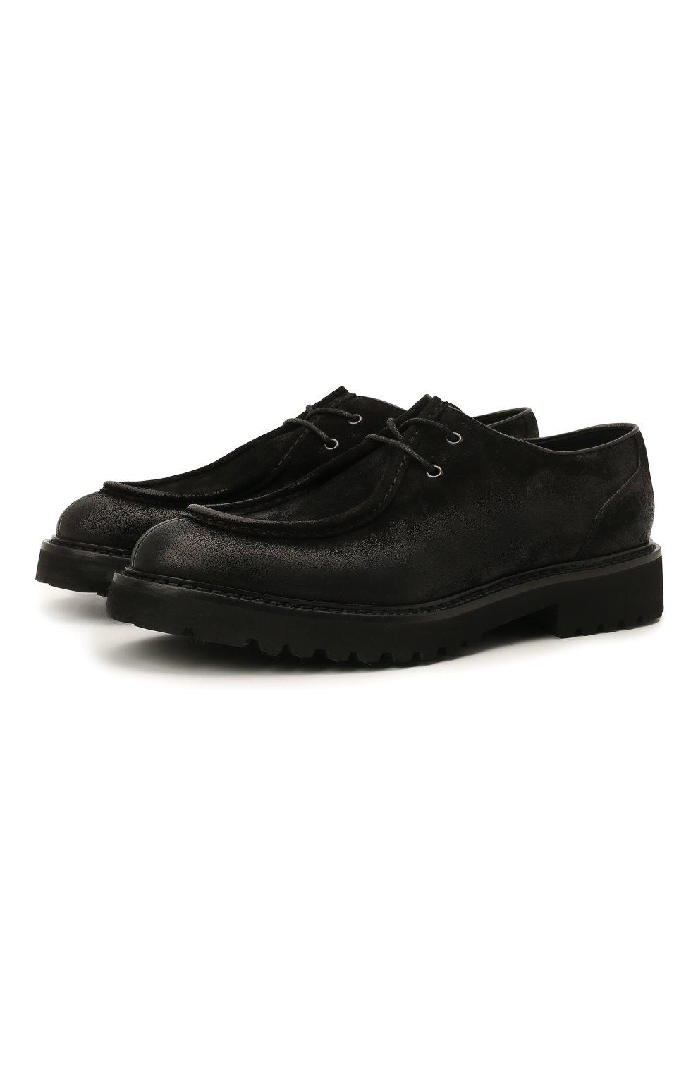 Мужские кожаные дерби DOUCAL'S черного цвета, арт. DU2737PHILUF205NN00 | Фото 1 (Материал внутренний: Натуральная кожа; Стили: Классический)