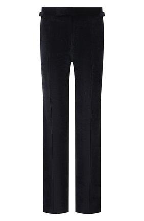Мужские брюки TOM FORD темно-синего цвета, арт. 2VER22/610041 | Фото 1 (Материал внешний: Хлопок, Синтетический материал; Длина (брюки, джинсы): Стандартные; Материал подклада: Купро; Случай: Повседневный; Стили: Кэжуэл)