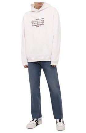 Мужские кожаные кеды vl7n VALENTINO черно-белого цвета, арт. WY2S0E02/WRQ | Фото 2 (Материал внутренний: Натуральная кожа; Подошва: Массивная)