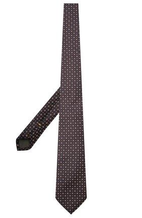 Мужской шелковый галстук CANALI коричневого цвета, арт. 18/HJ03290   Фото 2 (Материал: Текстиль, Шелк; Принт: С принтом)