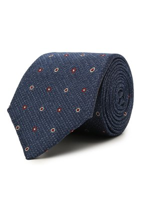 Мужской шелковый галстук CANALI синего цвета, арт. 18/HJ03297   Фото 1 (Материал: Текстиль, Шелк; Принт: С принтом)