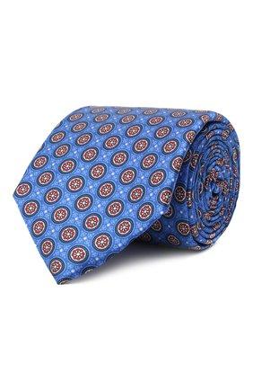 Мужской шелковый галстук CANALI синего цвета, арт. 18/HS03354   Фото 1 (Материал: Шелк, Текстиль; Принт: С принтом)