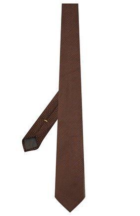 Мужской шелковый галстук CANALI коричневого цвета, арт. 70/HJ03281   Фото 2 (Материал: Текстиль, Шелк; Принт: С принтом)