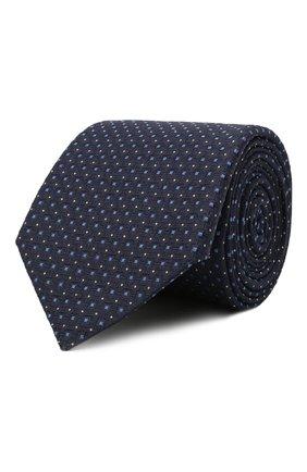 Мужской шелковый галстук CANALI темно-синего цвета, арт. 79/HX03344   Фото 1 (Материал: Текстиль, Шелк; Принт: С принтом)