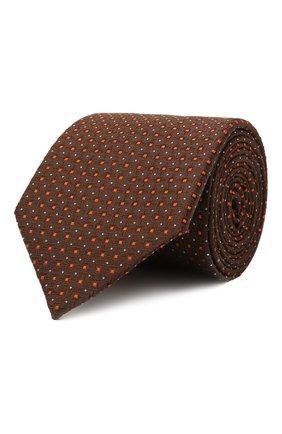 Мужской шелковый галстук CANALI коричневого цвета, арт. 79/HX03344   Фото 1 (Материал: Шелк, Текстиль; Принт: С принтом)