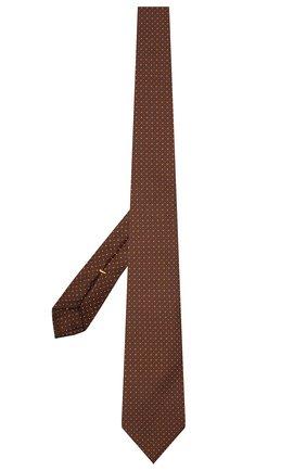 Мужской шелковый галстук CANALI коричневого цвета, арт. 79/HX03344   Фото 2 (Материал: Шелк, Текстиль; Принт: С принтом)