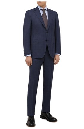 Мужской шерстяной костюм CANALI темно-синего цвета, арт. 11280/10/BR02785   Фото 1 (Материал внешний: Шерсть; Материал подклада: Купро; Костюмы М: Однобортный; Стили: Классический; Рукава: Длинные)