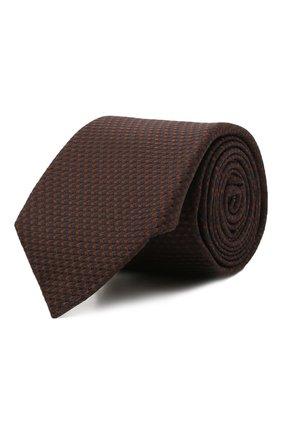 Мужской шелковый галстук CANALI коричневого цвета, арт. 82/HX03343   Фото 1 (Материал: Шелк, Текстиль; Принт: С принтом)