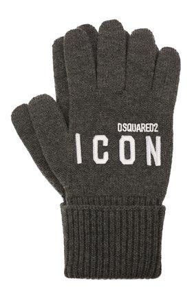 Мужские шерстяные перчатки DSQUARED2 серого цвета, арт. KNM0014 01W04331 | Фото 1 (Материал: Шерсть; Кросс-КТ: Трикотаж)