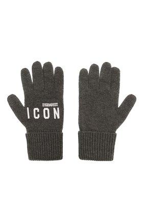 Мужские шерстяные перчатки DSQUARED2 серого цвета, арт. KNM0014 01W04331 | Фото 2 (Материал: Шерсть; Кросс-КТ: Трикотаж)
