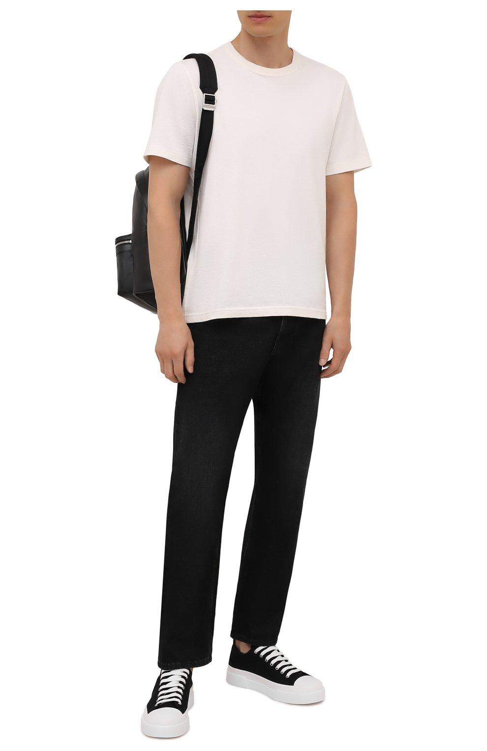 Мужские текстильные кеды portofino light DOLCE & GABBANA черно-белого цвета, арт. CS1888/A0867   Фото 2 (Материал внешний: Текстиль; Материал внутренний: Натуральная кожа; Подошва: Плоская)