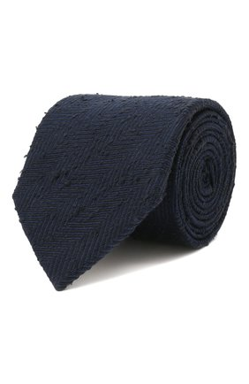 Мужской шелковый галстук BRIONI темно-синего цвета, арт. 062H00/01410 | Фото 1 (Материал: Текстиль, Шелк; Принт: С принтом)