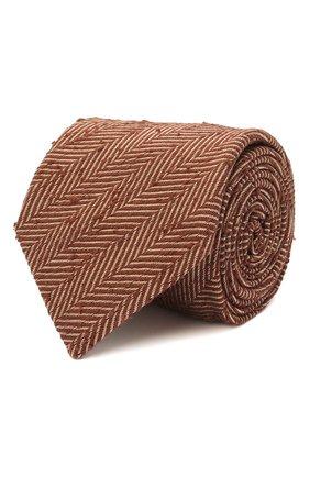 Мужской шелковый галстук BRIONI коричневого цвета, арт. 062H00/01410   Фото 1