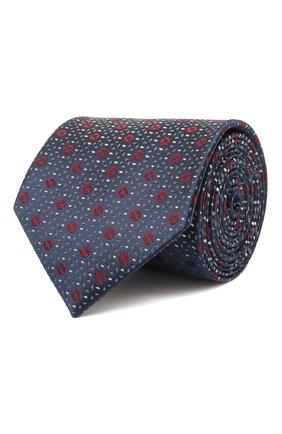 Мужской шелковый галстук BRIONI темно-синего цвета, арт. 061Q00/01409 | Фото 1 (Материал: Шелк, Текстиль; Принт: С принтом)