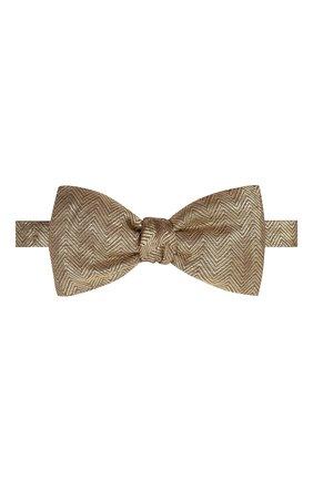 Мужской галстук-бабочка BRIONI золотого цвета, арт. 01T200/0140N | Фото 1 (Материал: Текстиль, Металлизированное волокно, Шелк)