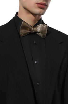Мужской галстук-бабочка BRIONI золотого цвета, арт. 01T200/0140N | Фото 2 (Материал: Текстиль, Металлизированное волокно, Шелк)