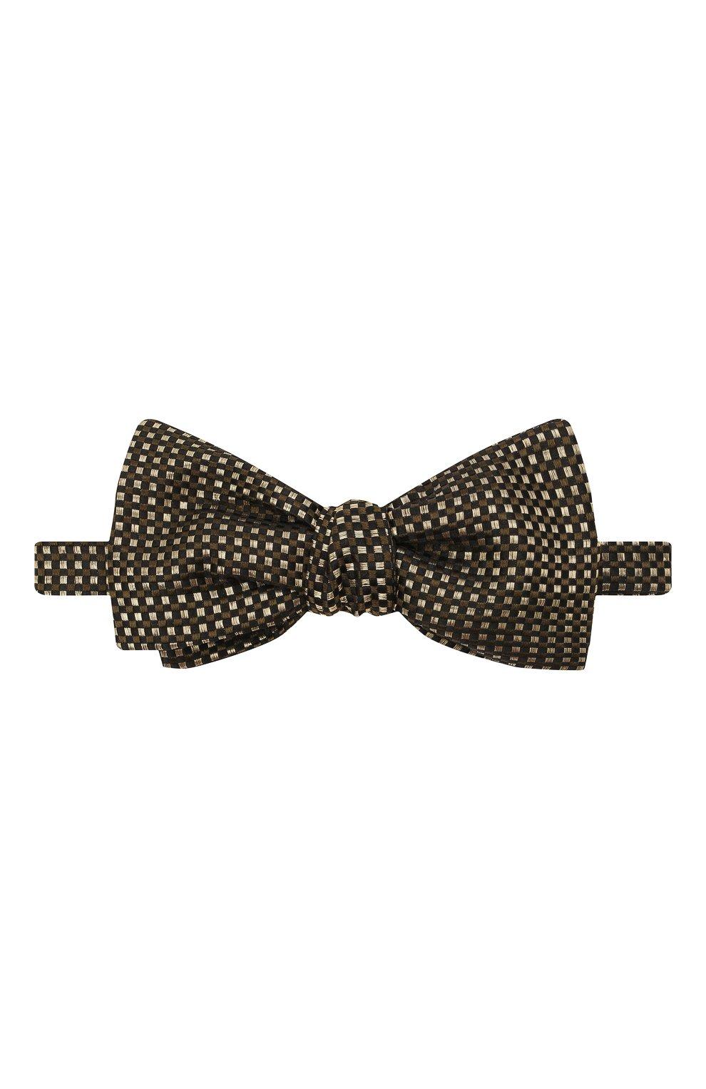 Мужской шелковый галстук-бабочка BRIONI золотого цвета, арт. 01T200/0140E | Фото 1 (Материал: Текстиль, Шелк)