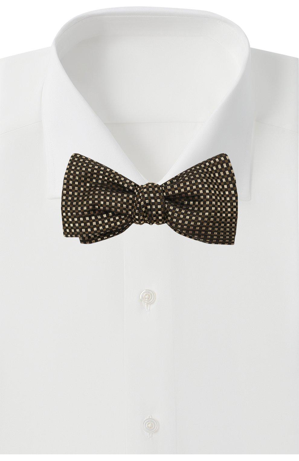 Мужской шелковый галстук-бабочка BRIONI золотого цвета, арт. 01T200/0140E | Фото 2 (Материал: Текстиль, Шелк)
