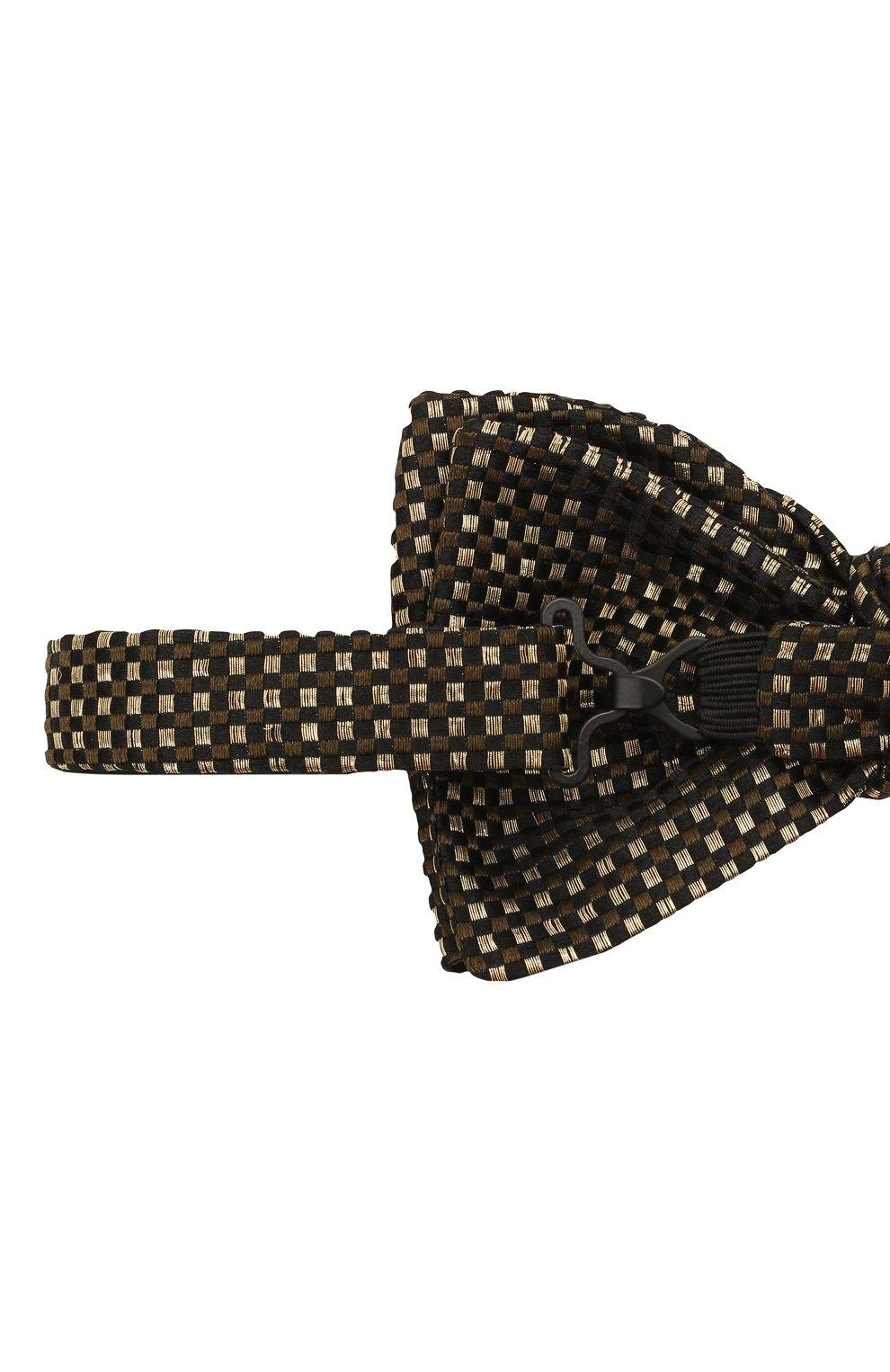 Мужской шелковый галстук-бабочка BRIONI золотого цвета, арт. 01T200/0140E | Фото 3 (Материал: Текстиль, Шелк)